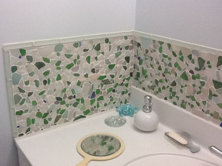 Diy Beach Glass Backsplash Beach Glass Ideas Pinterest Beaches Glasses And Glass Bathroom