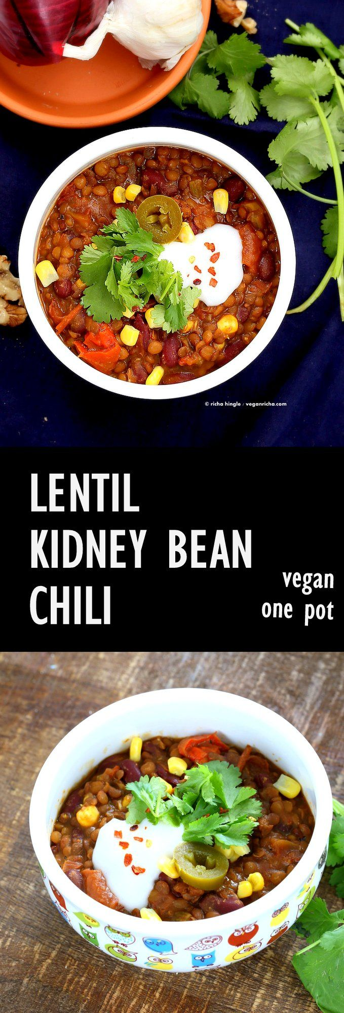 Vegan Lentil Kidney Bean Chili packed with flavor from the Taco spice blend and chipotle pepper. VeganRicha.com #vegan #glutenfree #soyfree 1 Bowl