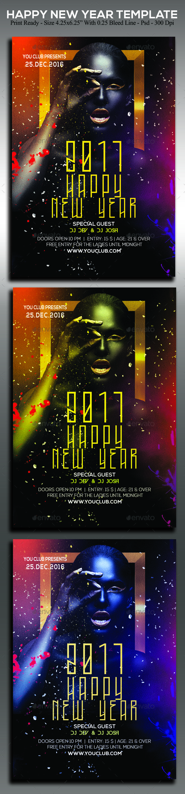 Happy New Year FlyerIt¡¯s unique flyers, poster design for your business Advertisement purpose. All Elements are in individual layers and all text is editable! Easy to customize & edit ¨C All photos is a Smart Object (simply select, place & that¡¯s it!) Print dim