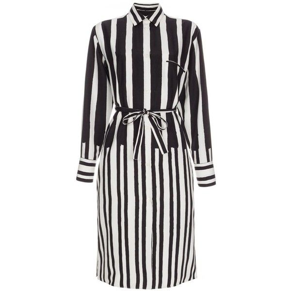 Paul Smith Women's Black And White 'Painted Stripe' Silk Shirt-Dress ($400) ❤ liked on Polyvore featuring dresses, short dresses, striped shirt dress, silk shirt dress, stripe dress and mini dress