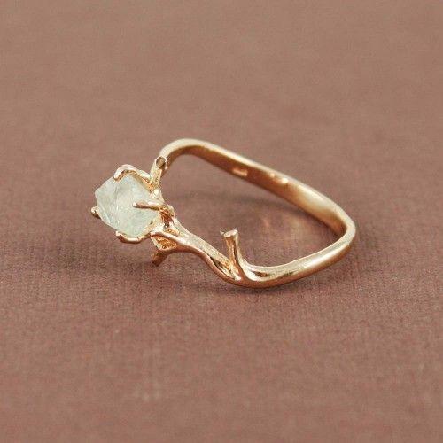 Pink Gold Rough Green Amethyst Ring | tooriginal - Jewelry on ArtFire