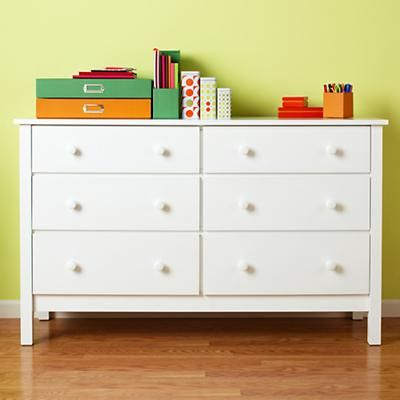 Kids' Dressers: Kids 6-Drawer Painted White Simple Dresser in Dressers