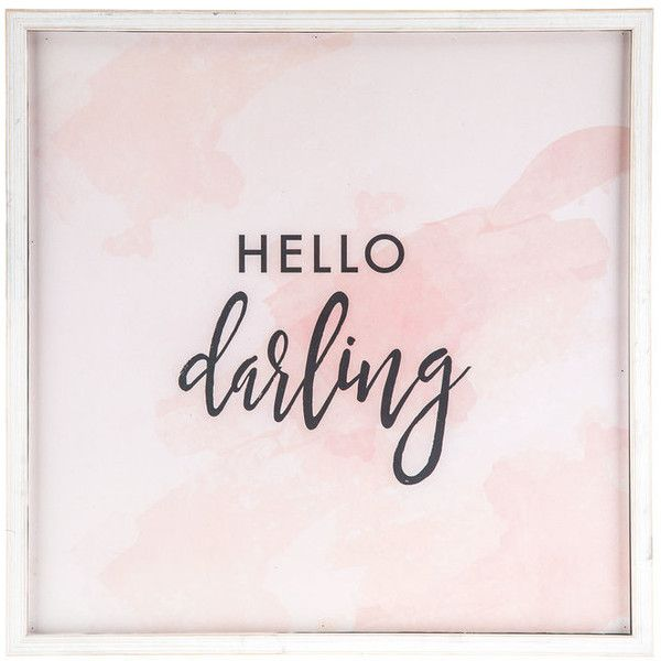 Hello Darling Wood Wall Decor ($22) ❤ liked on Polyvore featuring home, home decor, wall art, words, wood home decor, wooden home accessories, hello darling, word wall art and quote wall art