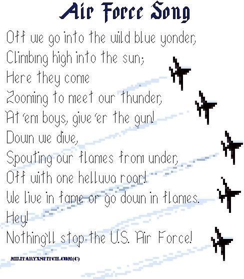 Air Force Song cross stitch. Maybe do this for Rae and Nathan.