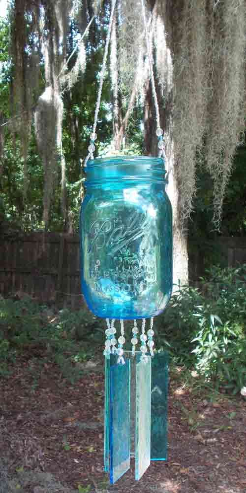 Aqua Pint Sized Ball Canning Jar, Repurposed and Upcycled into a Windchime, Luminaria, with Stained Glass Chimes by hunter5220 on Etsy
