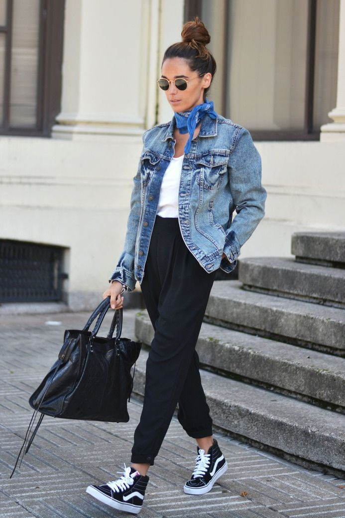 Unusual fashion denim outfit, but she rocks it well. Vans …