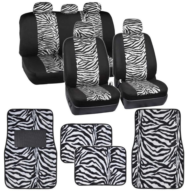 Two Tone White Zebra Seat Covers Floor Mats for Car Truck SUV Auto Accessories