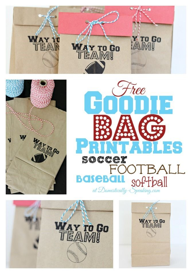 Goodie Bag Printable - FREE