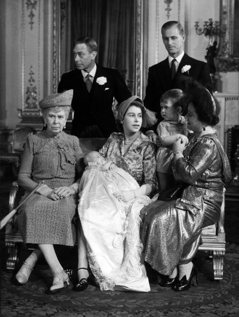 1950 in London as the Royal Family attend the Christening of Princess Anne. Other in this picture are King George VI (L-2nd row), the babies father the Duke of Edinburgh (R-2nd row), and Queen Mary, the babies grandmother. In 1952, Queen Elizabeth was only 51 when her husband King George VI died and her daughter ascended to the throne as Queen Elizabeth II