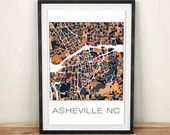 Asheville NC Art Print, Asheville Print, Map Art, Vintage Map Print, Map Poster, Home Decor, City Map, Wall Decor