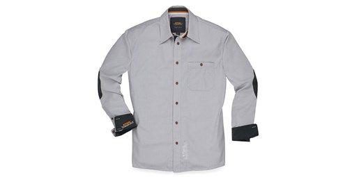 Camisa 'Oxford'. Elegante. Color gris. Material: pana 100 % algodón. Corte Oxford, ligeramente entallado. Gran bordado «Champion of STIHL® TIMBERSPORTS®» en la espalda.