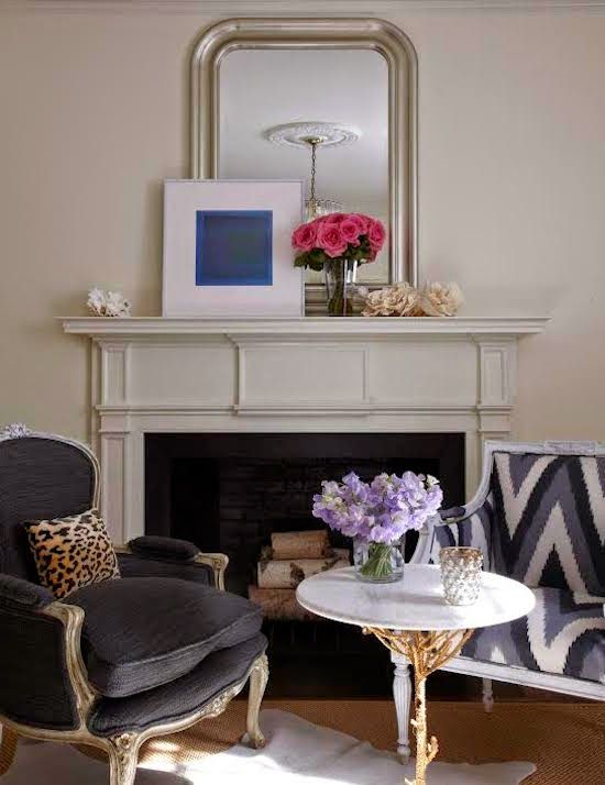 Black French Chair with Cheetah Pillow, Contemporary, Living Room