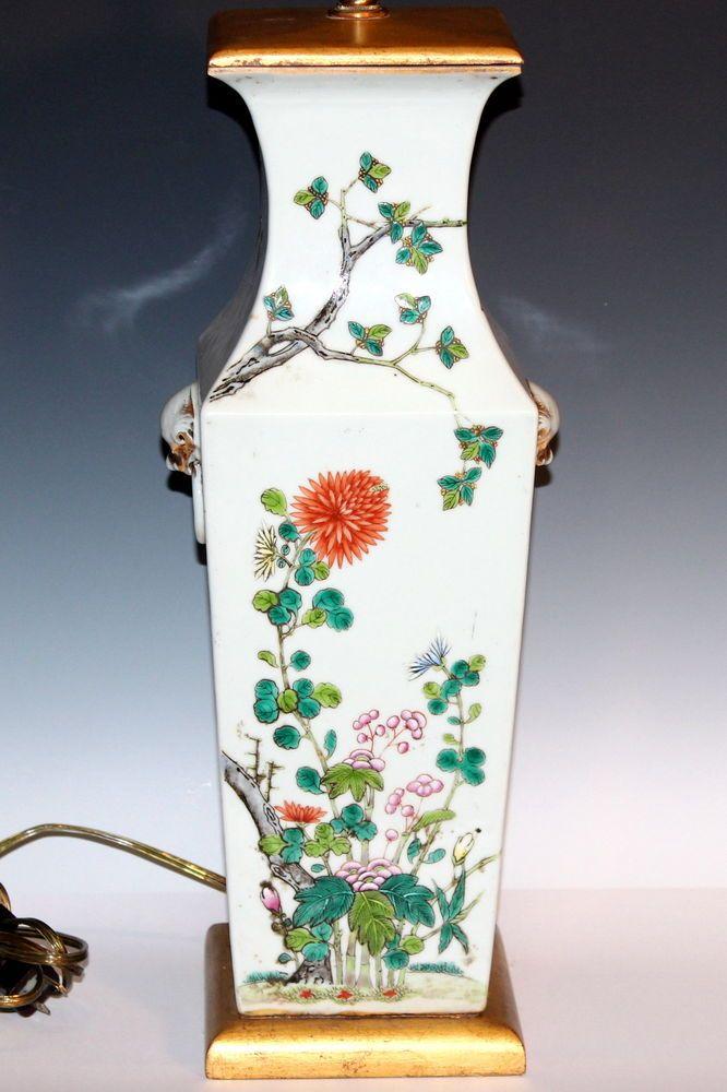 Large Antique Chinese Porcelain Famille Rose Square Vase Lamp 19th Cent Qing Porcelain