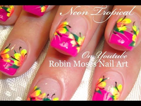 The 25 best tropical flower nails ideas on pinterest tropical neon pink tropical nails hot neon yellow flowers nail art design youtube prinsesfo Image collections