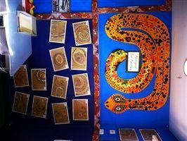 Aboriginal dot painting Australian Bulletin Boards www.classroom-ideas.com