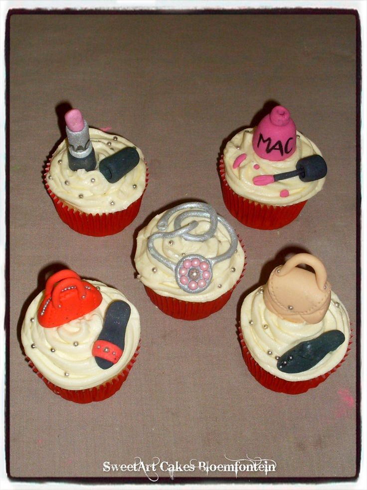 FASHION CUPCAKE TOPPERS Lipstick @ R15 Cutex @ R15 Handbags @ R5 each Shoes @ R5 each (All figurines contain Tylose which preserves the figurine for an indefinite period of time) For more information & orders email SweetArtBfn@gmail.com or Call Lola 0712127786.