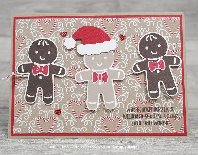 """Weihnachten mit Lebkuchenmännchen. Gestempelt und gestanzt mit Produkten von Stampin`Up!. Im Hintergrund das Designerpapier """"Zuckerstangenzauber"""", DIY, Stempelparty, Weihnachten, Karten bringen Freude, Basteln macht Spaß"""