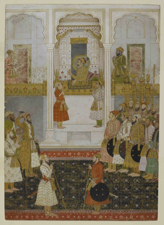 Prince Aurangzeb reports to Shah Jahan in durbar at Lahore in 1649. Mughal, 1650-55. British Library, Add.Or.3853 noc