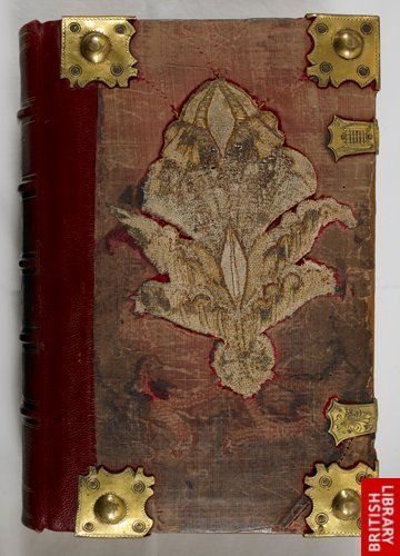 The upper cover of the Queen Mary Psalter (London?, c. 1310-1320: London, British Library, MS Royal 2 A XXII), rebound for Queen Mary of England (1553-1558).