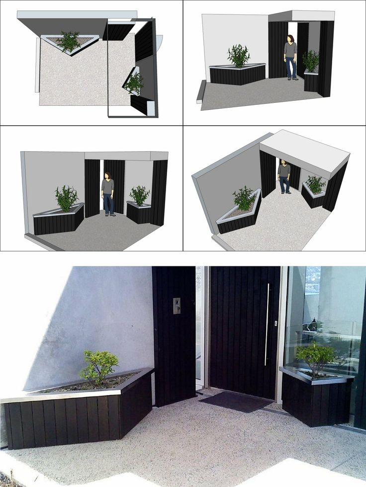 Front door access-way planters. Custom-designed black stained cedar planters with stainless steel capping. Designed to not impede access to door. Planted with Daphne odora, dwarf mondo grass and crushed schist mulch