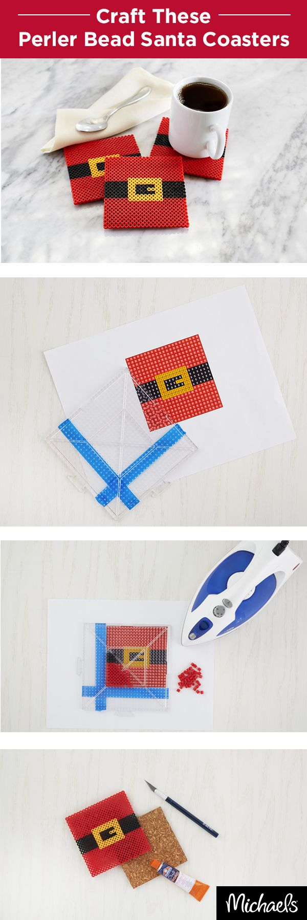 Prepare for a visit from St. Nick with these iconic Santa belt coasters. Download a template from Michaels.com to create your design. Iron your Perler® beads to fuse them together and then add a cork backing to turn them into coasters. Get all of the supplies you need for this project at your local Michaels store.