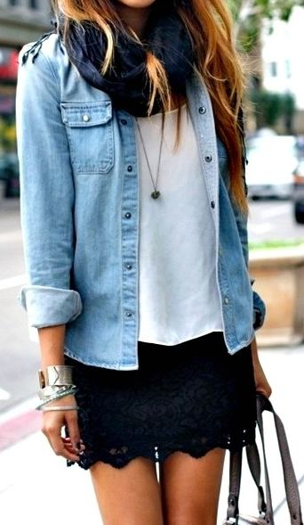 fun spring outfit - white tee, black lace skirt, chambray shirt  scarf
