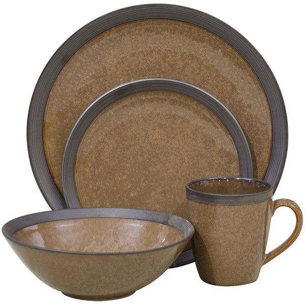 Sango Omega 16-pc. Dinnerware Set, Brown featuring polyvore, home, kitchen & dining, dinnerware, brown, brown dinner plates, stoneware salad plates, stoneware dinnerware sets, brown dinnerware and sango dinnerware