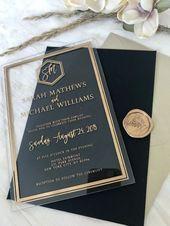 Benutzerdefinierte moderne Acryl Einladungen Hochzeiten klar Plexi schwarz Weißgold Luxus Art Deco geometrische Kalligraphie Umschlag für den Gast