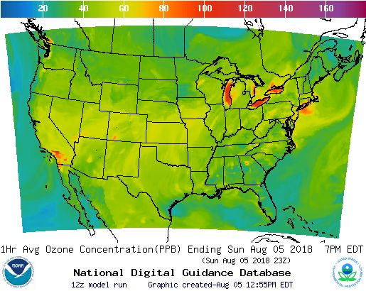 NOAA Air Quality Forcast Graphic Guidance for the CONUS in