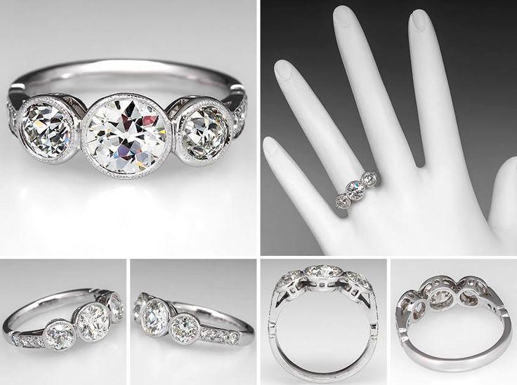 Vintage Bezel Set Three Stone Diamond Engagement Ring Platinum EraGem