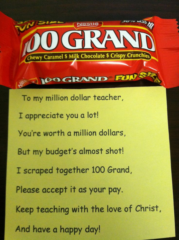 Teacher appreciation gift - could do for Bible class or traditional school either one with a slight tweak to the wording - cute, cheap idea!