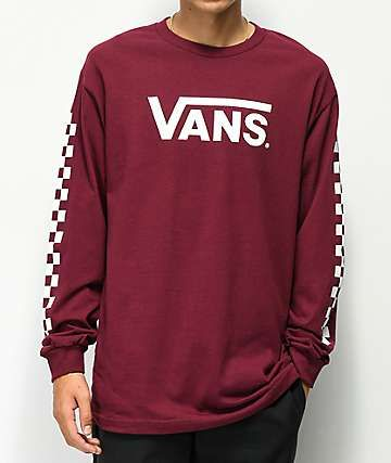 1b54e5df3b8a Vans Classic Checkerboard Burgundy Long Sleeve T-Shirt in 2019   my ...