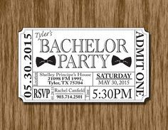Custom Bachelor Party Invitation Ticket. Available at BOARDMAN PRINTING