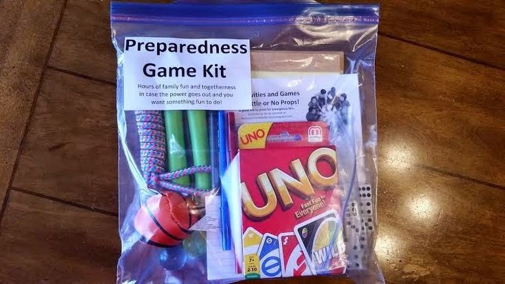 Make a Preparedness Fun Kit. Laughter is medicine for the soul. When a crisis happens, children need comfort and distraction to help them calm down and cheer up. Having a portable kit filled with options for fun games and activities to bring cheer and laughter will be a blessing to your whole family.