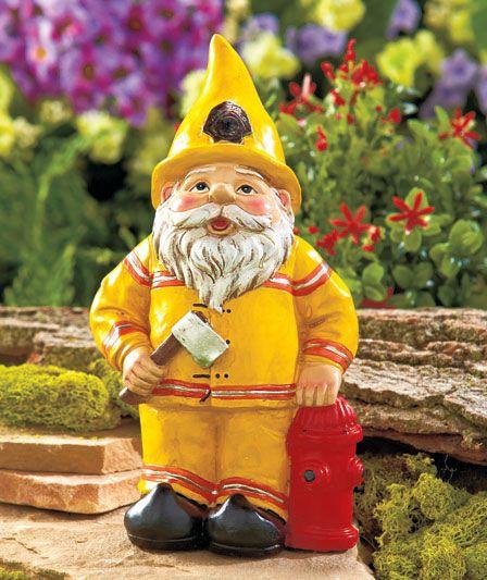 Fireman Firefighter Novelty Gnome Statue Outdoor Garden