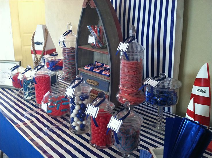 Nautical theme candy buffet I created for a 40th birthday party (male). This buffet was for 50-60 guest.