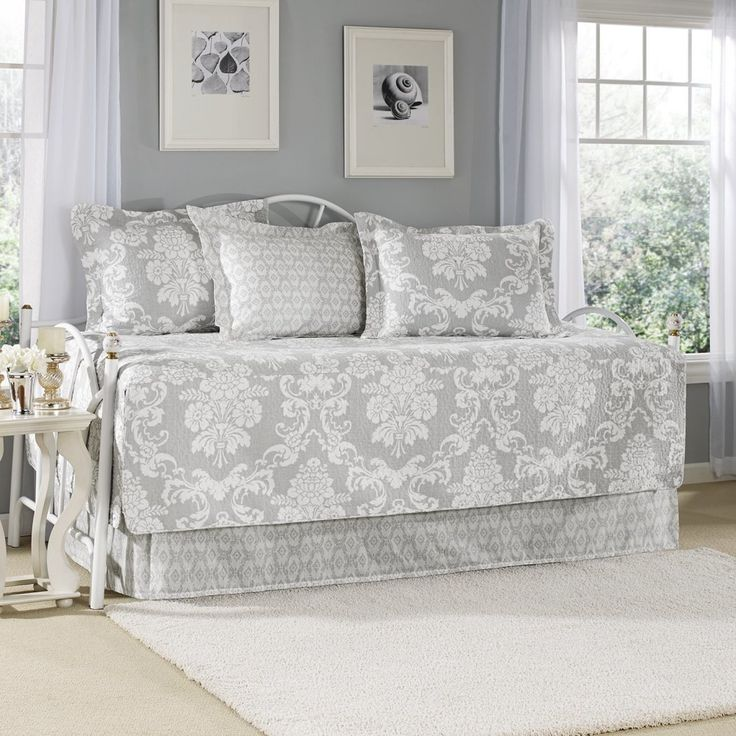 Grey Floral Daybed Set Bedding Geometric Coastal French ...