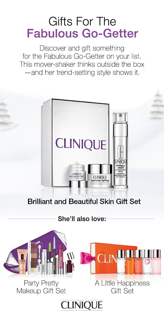 The Fabulous Go-Getter on your list will love #Clinique's Brilliant and Beautiful Skin Gift Set. Includes Clinique Smart Custom-Repair Serum, Repairwear Uplifting Firming Cream for Dry Combination to Combination Oily Skins, and Repairwear Laser Focus Wrinkle Correcting Eye Cream. #Beauty #Skincare #Gifts