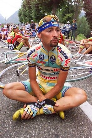 Protest: Festina Pantani A number of protests stopped the 1998 Tour de France during the Festina Affaire. Here, Marco Pantani is seated on t...