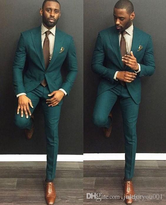 317bfb626ad68a Green Custom Slim Fit Mens Business Suit Jacket + Pants + Tie Handsome Men'S  Suits Spring 2018 Hot Sell Wedding Suits Groom Ebelz Custom Black On White  Tux ...