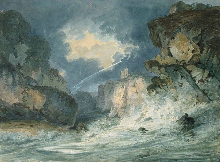 """During the 18th-century a handful of artists, including Thomas Girtin, began using watercolour to express great emotional intensity. This is Girtin's powerful watercolour and graphite drawing of Dunottar Castle in a Thunderstorm, completed c. 1794. Thomas Girtin was a friend and rival of JMW Turner, for whom he once worked. On Girtin's early death Turner is said to have remarked, """"Had Tom Girtin lived I should have starved""""."""