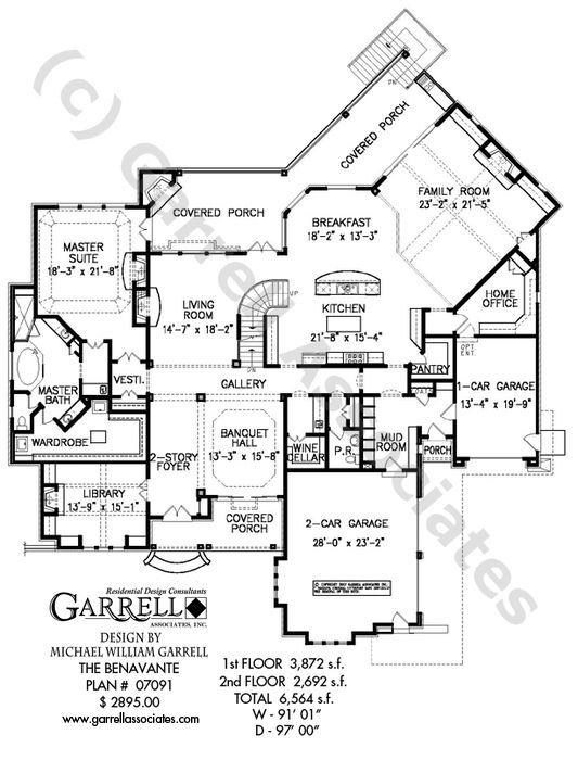 Benavante House Plan 07091, 1st Floor Plan, Craftsman House Plans, Traditional House Plans