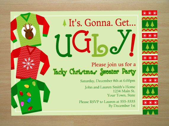 Ugly Christmas Sweater Party Invitation Digital File Printing