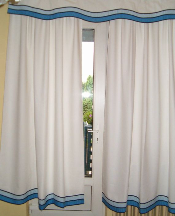 Nautical window curtains and valance nautical decor this is for a