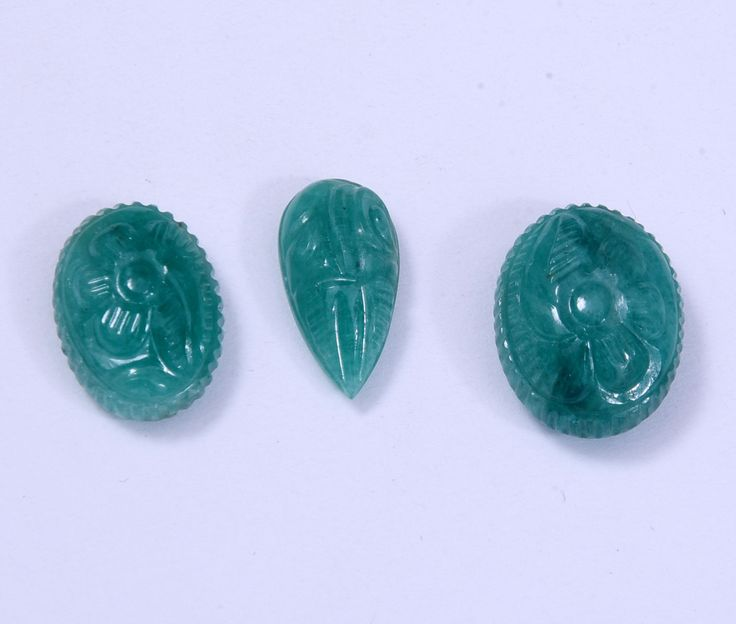 AAA Natural Emerald Carving Gemstone, Handmade Rings & Pendant Size Gemstones Carving for making jewelry Oval and Pear Shape Emerald Carving by AdornmixJewels on Etsy