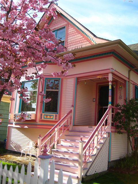 little pink house! It has been proven that pink is a stress reducing color:)
