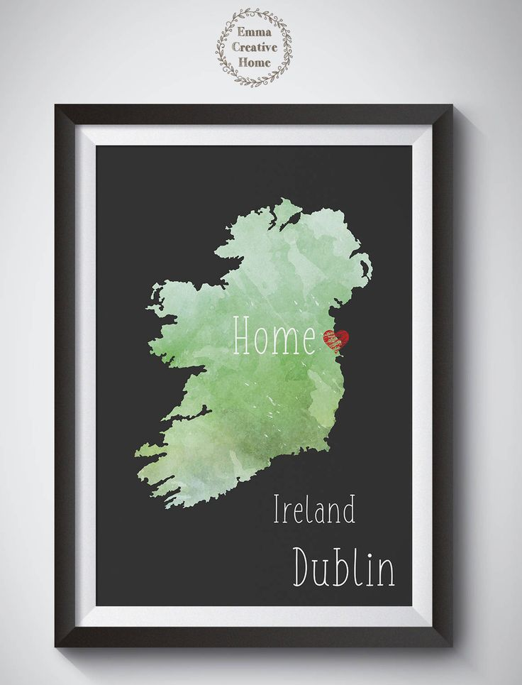 Customized Print, State, Country Map, Home City Print, Favorite City, Art Print, Heart, Custom Wall Art, Home Decor, Ireland, Dublin by EmmaCreativeHome on Etsy
