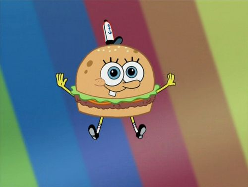 Spongebob as a Krabby patty