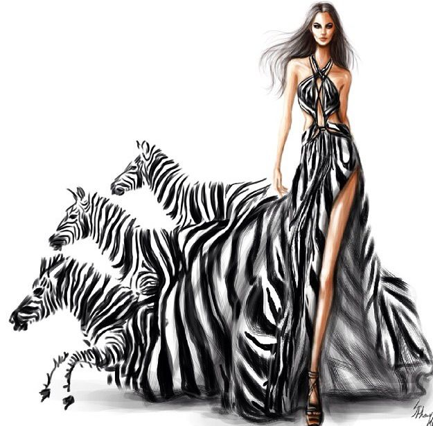 I love this illustration because the way the dress becomes the zebras, it is a very striking image. It is detailed and imaginative. The use of black white and grey makes it very bold and stand out.