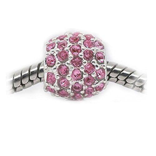 Pink Rhinestone Birthstone Charm European Bead Compatible For Most European Sn